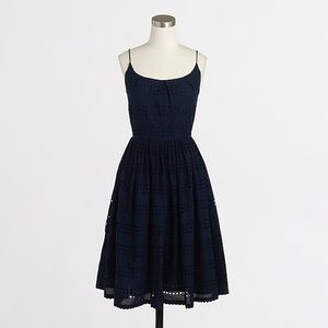 J. Crew Eyelet stripe Dark Navy Dress